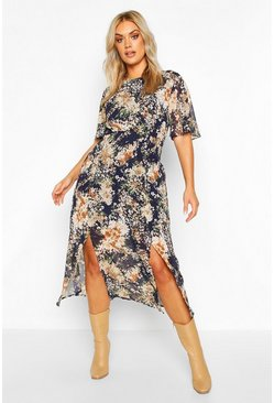 Womens Navy Plus Angel Sleeve Floral Print Midi Dress