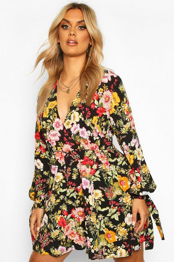 Plus Floral Long Sleeve Skater Dress