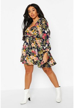 Womens Navy Plus Floral Long Sleeve Skater Dress