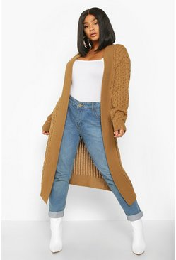 Camel Plus Chunky Honeycomb Waterfall Cardigan