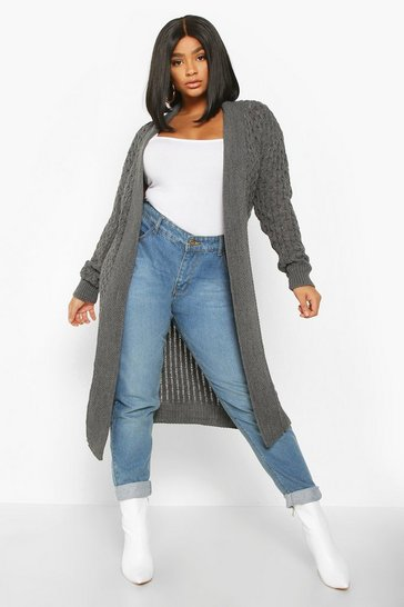 Womens Grey Plus Chunky Honeycomb Waterfall Cardigan