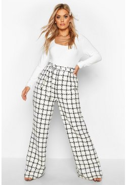 Dam Cream Plus High Waisted Belted Wide Leg Trouser