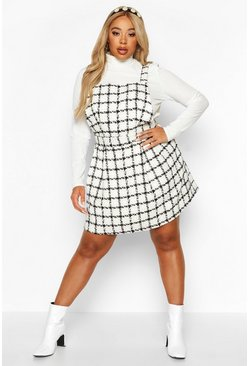 Womens Cream Plus Check Pinafore Dress