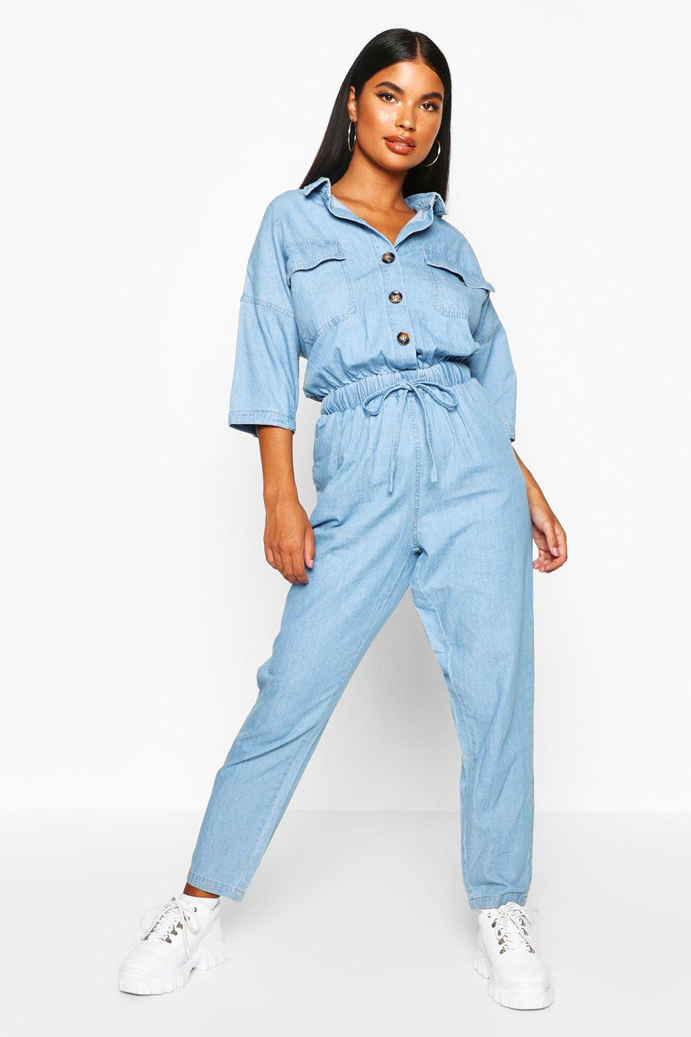 official photos 43753 039b2 Tuta di jeans Petite in chambray | Boohoo