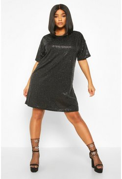 Black Plus Sequin Mini Shift Dress