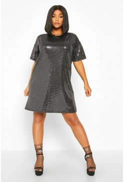 Silver Plus Sequin Mini Shift Dress