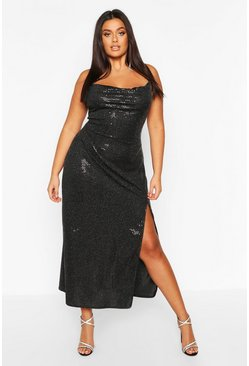 Black Plus Sequin Cowl Neck High Split Maxi Dress
