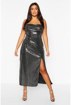Silver Plus Sequin Cowl Neck High Split Maxi Dress