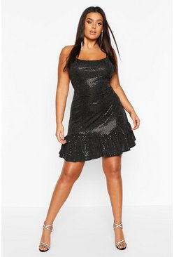Black Plus Drop Hem All Over Sequin Mini Dress