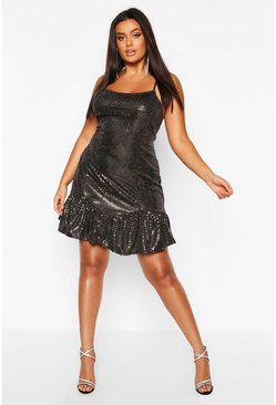 Rose gold Plus Drop Hem All Over Sequin Mini Dress