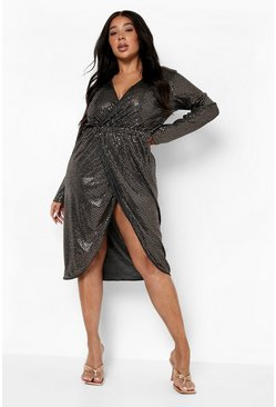 Rose gold Plus Sequin Wrap Plunge Midi Dress