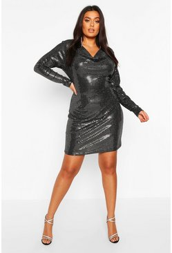 Silver Plus Cowl Neck All Over Sequin Bodycon Dress