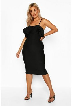 Womens Black Plus Sculpt Bandage Frill Midi Dress