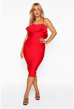 Womens Red Plus Sculpt Bandage Frill Midi Dress