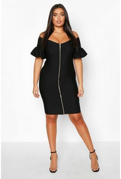 Womens Black Plus Sculpt Bandage Bardot Zip Midi Dress