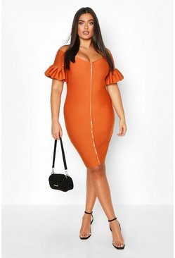 Camel Plus Sculpt Bandage Bardot Zip Midi Dress