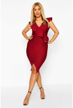 Womens Berry Plus Sculpt Ruffle Bandage Dress