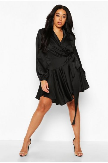 Black Plus Satin Ruffle Wrap Dress