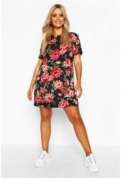 Black Plus Floral Cap Sleeve Shift Dress