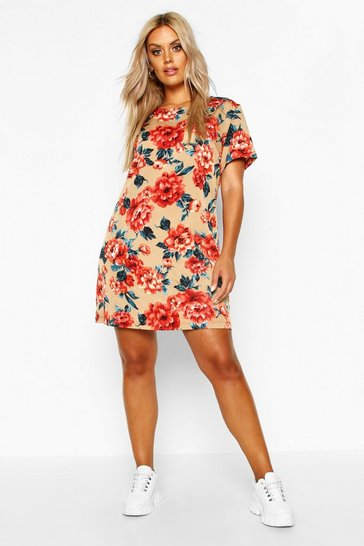 Womens Stone Plus Floral Cap Sleeve Shift Dress