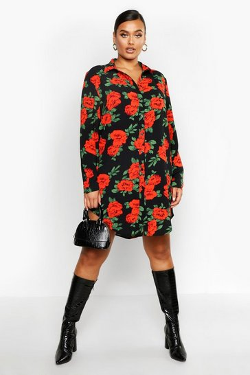 Womens Black Plus Rose Print Oversized Shirt Dress