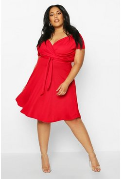 Womens Red Plus Off-Shoulder Wrap Front Midi Skater Dress