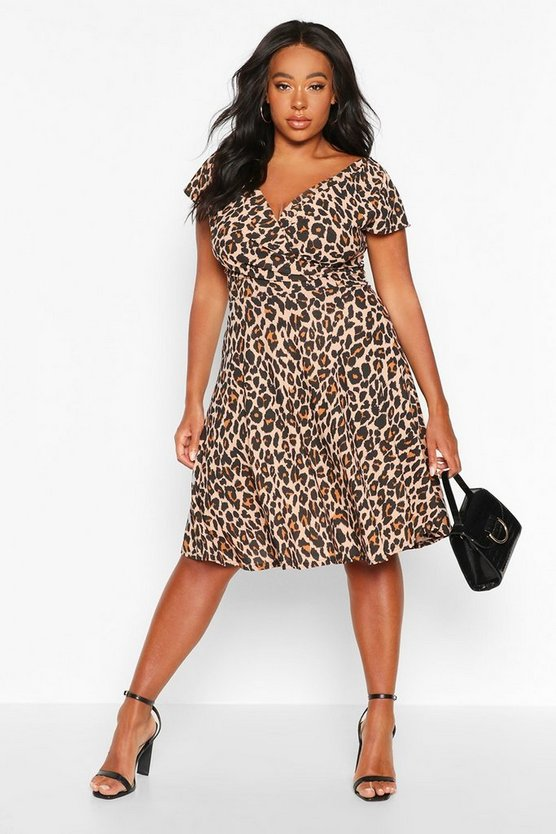Brown Plus Curve Leopard Off-Shoulder Wrap Midi Skater Dress