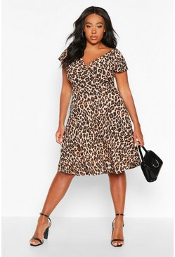 Womens Brown Plus Curve Leopard Off-Shoulder Wrap Midi Skater Dress