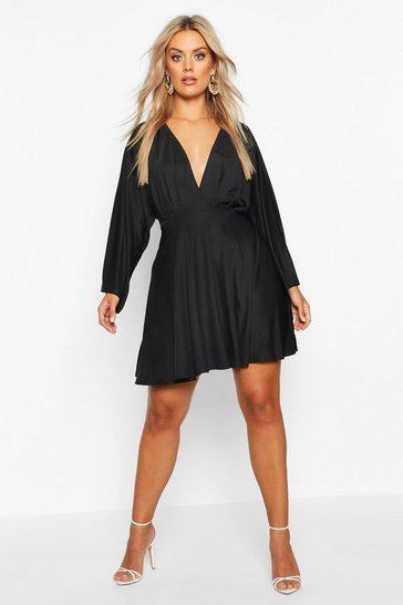 Womens Black Plus Plunge Kimono Sleeve Skater Dress