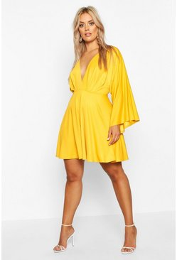Womens Mustard Plus Plunge Kimono Sleeve Skater Dress