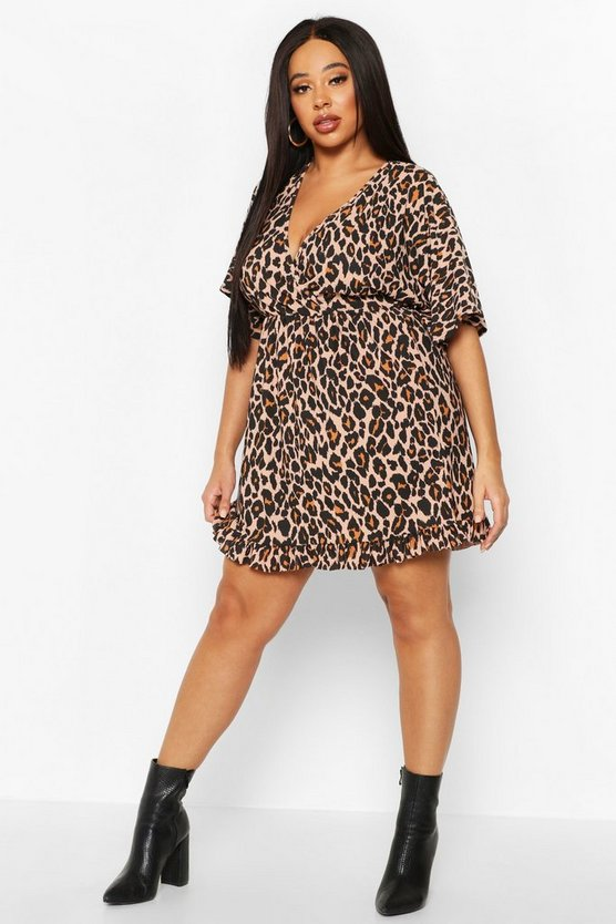 Womens Brown Plus Leopard Ruffle Wrap Dress
