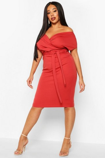 Womens Terracotta Plus Off The Shoulder Wrap Midi Dress