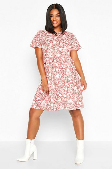 Womens Terracotta Plus Floral Ruffle Detail Smock Dress