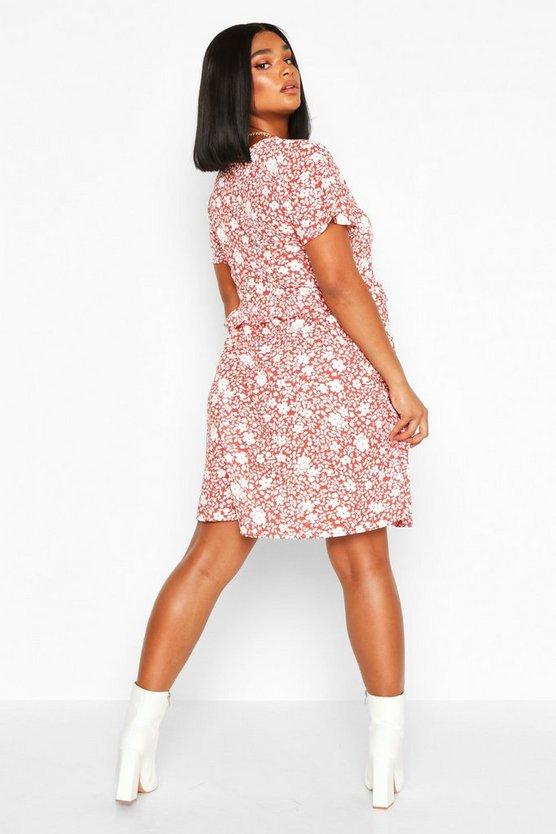Plus Floral Ruffle Detail Smock Dress