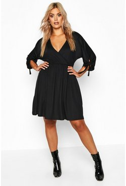 Black Plus Tie Sleeve Wrap Smock Dress
