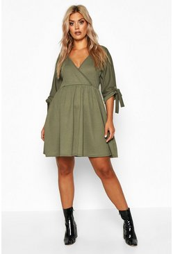 Womens Khaki Plus Tie Sleeve Wrap Smock Dress