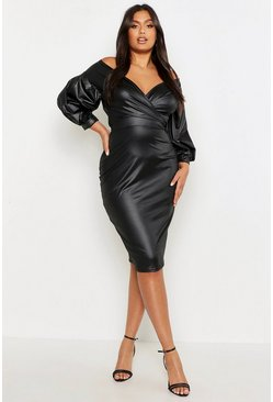 Womens Black Plus Leather Look Off Shoulder Midi Dress