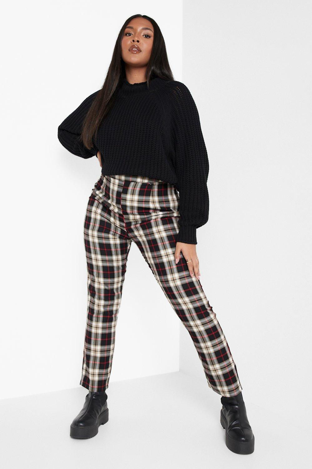 Vintage High Waisted Trousers, Sailor Pants, Jeans Womens Plus Woven Flannel Tapered Pants - Black - 16 $16.80 AT vintagedancer.com