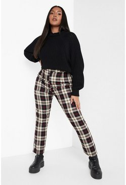 Black Plus Woven Check Tapered Trousers