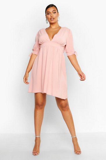 Womens Baby pink Plus Woven Tie Sleeve Skater Dress