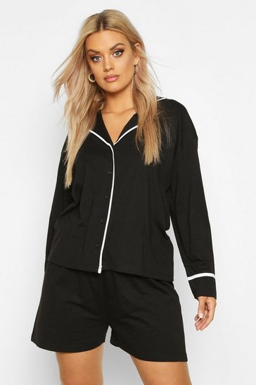 Black Plus Long Sleeve Button Jersey T-Shirt PJ Set