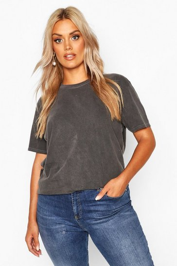 Womens Charcoal Plus Washed Effect T-Shirt