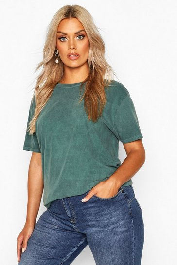 Womens Teal Plus Washed Effect T-Shirt