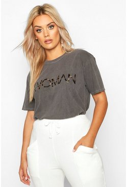 "Plus T-Shirt mit Leoparden-Print, Washed-Effect und ""Woman""-Slogan, Anthrazit, Damen"