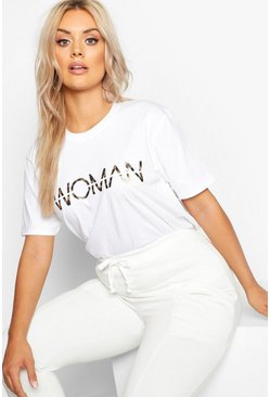 "Plus T-Shirt mit Leoparden-Print, Washed-Effect und ""Woman""-Slogan, Weiß, Damen"