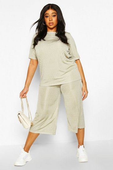 Womens Sage Plus Slinky Rib T-Shirt & Culotte Co-Ord