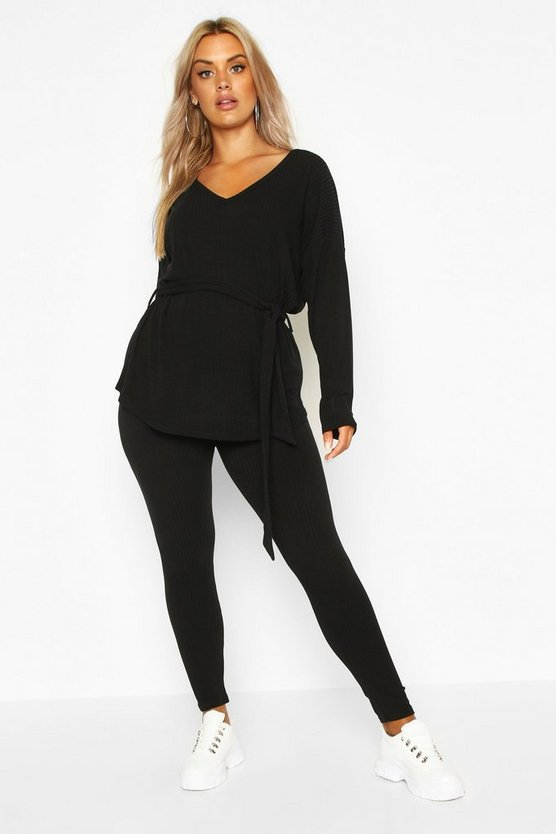 Womens Black Plus Soft Rib Tie Waist Top & Legging Co-Ord