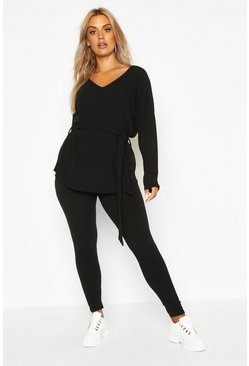 Black Plus Soft Rib Tie Waist Top & Legging Co-Ord