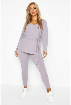 Grey Plus Soft Rib Tie Waist Top & Legging Co-Ord