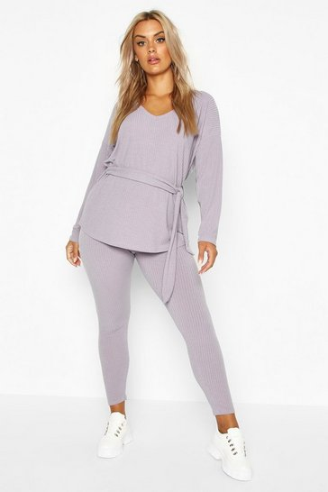 Womens Grey Plus Soft Rib Tie Waist Top & Legging Co-Ord